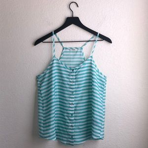 Poetry Turquoise White Striped Tank Top Size M